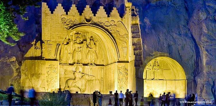 Taq Bostan bas reliefs in rocks